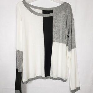 ALICE & Olivia Color Block Light Knit Sweater Sz L